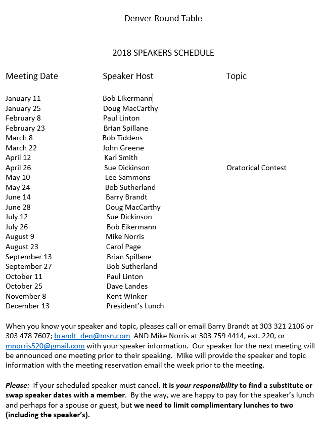 86b2007db07 2019 Speaker Schedule - Welcome to the Denver Round Table